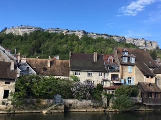 Cliffs behind village