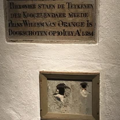 Assassination of William I, bullet holes . Prinsenhof Museum, Delft